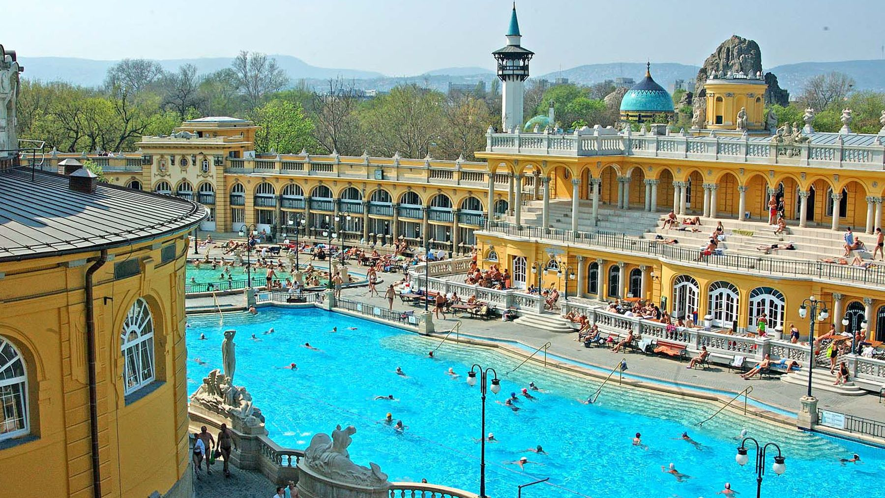 pool and surrounding buildings in budapest