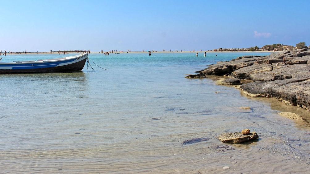 tied boat near the shore in Greece