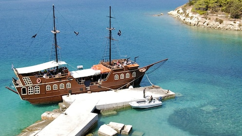 pirate themed ship at the bay in Greece