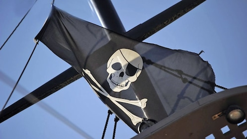 pirate flag flying on the ship in Greece
