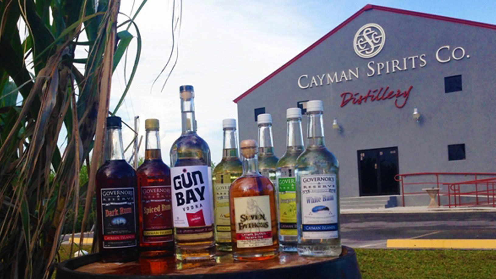 Bottles of alcohol outside a distillery in the Cayman Islands