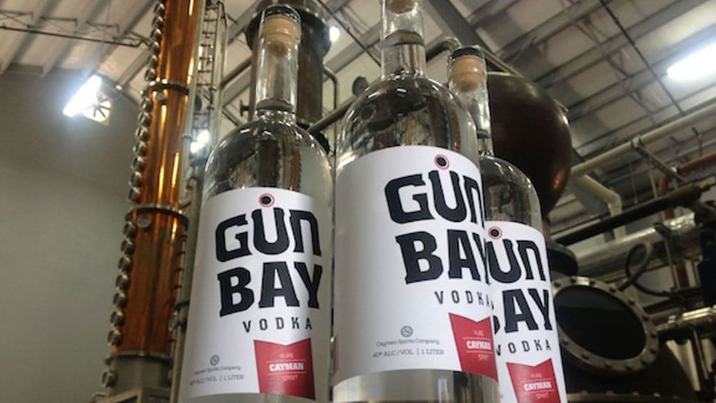 Bottles of vodka at a distillery in Cayman Islands