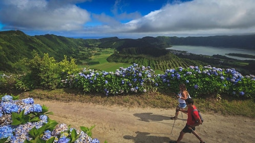 Hikers walking along beautiful path with flowers.