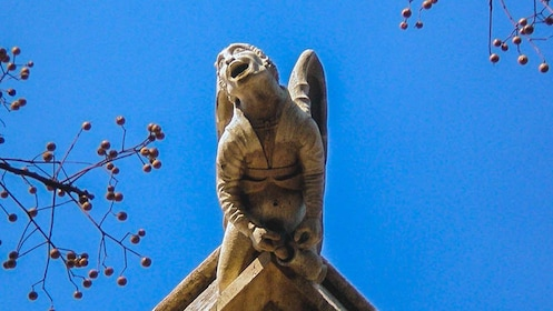 Close up of ancient Valencia sculpture on building.