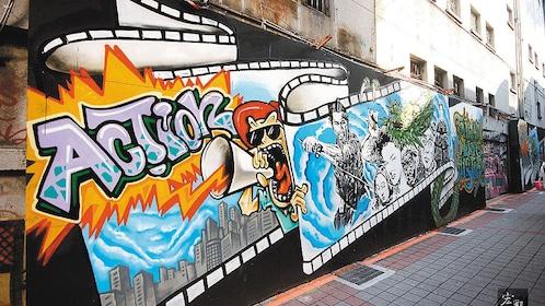 Graffiti wall in Ximending district in Taipei