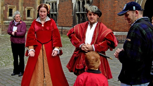 man and woman dressed in historic clothing in London