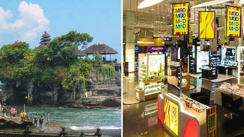 Landscape view of Tanah Lot and interior view of Duty Free shopping center.