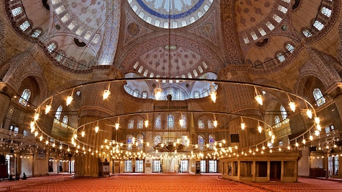 Inside the Sultan Ahmed Mosque in Istanbul