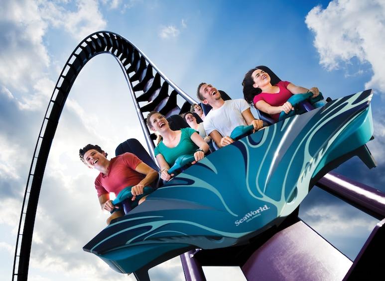 Carregar foto 4 de 10. Group of People ride a roller coaster at Aquatica