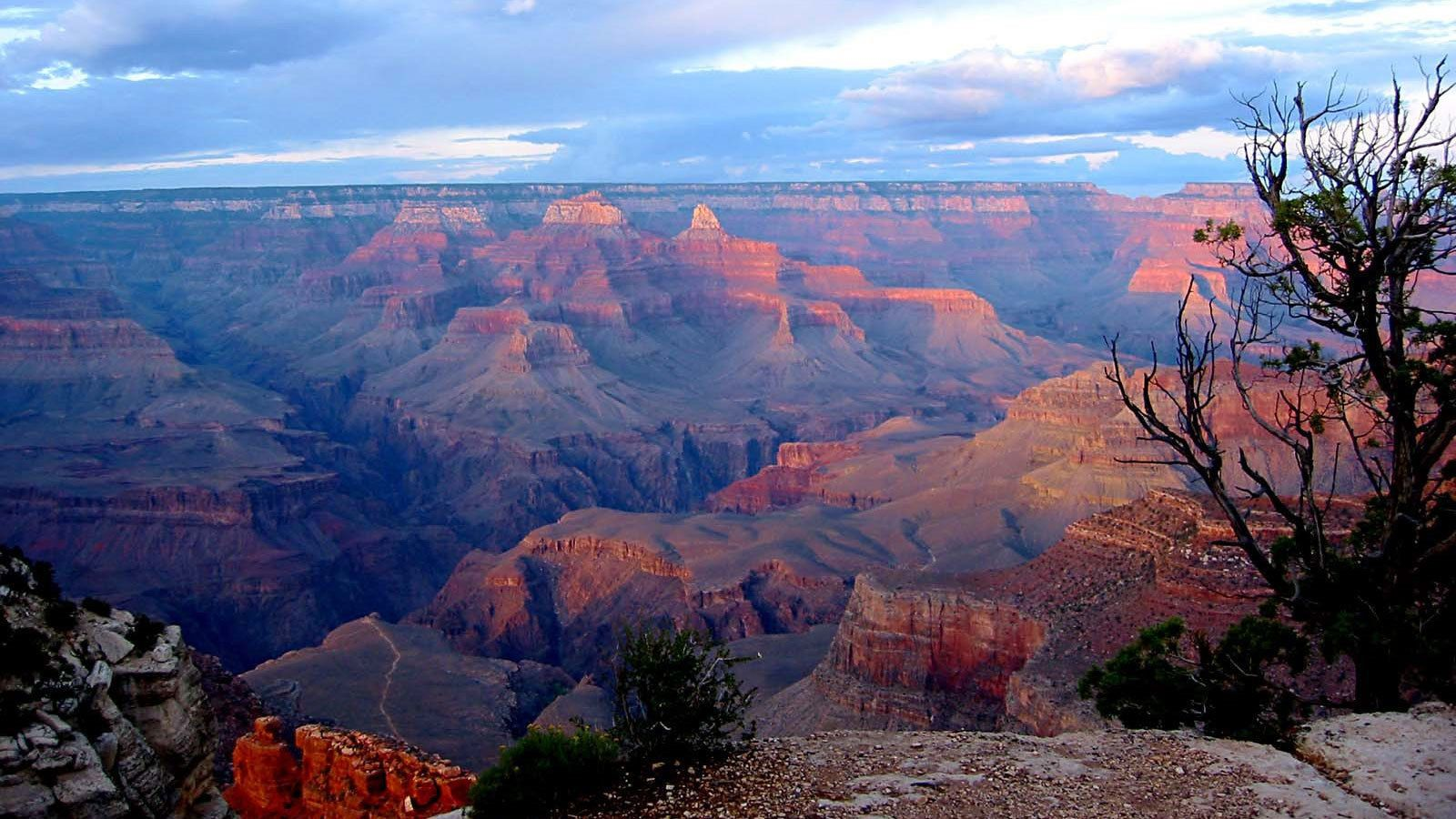 View from a trail of the Grand Canyon at sunset in Arizona