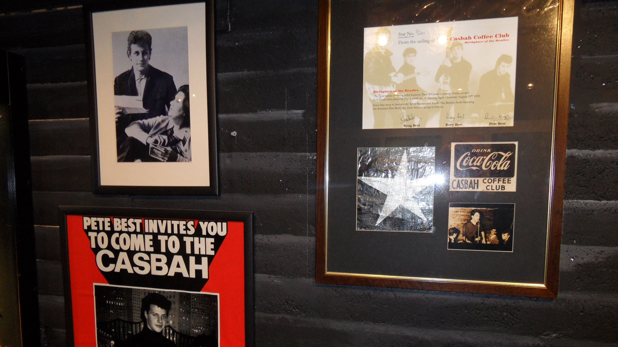 musician articles and photography on the walls in London