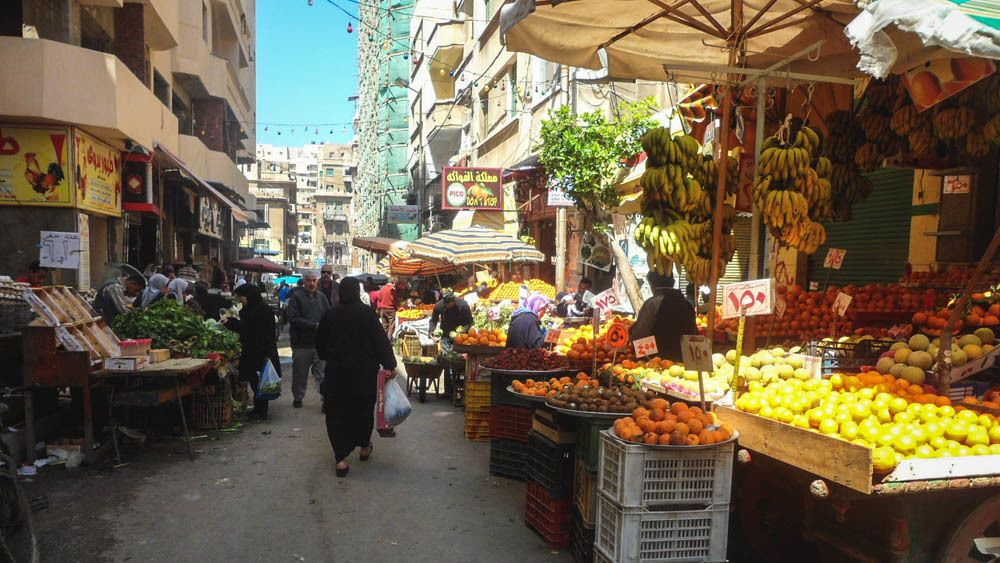 View of local marketplace selling fresh produce.
