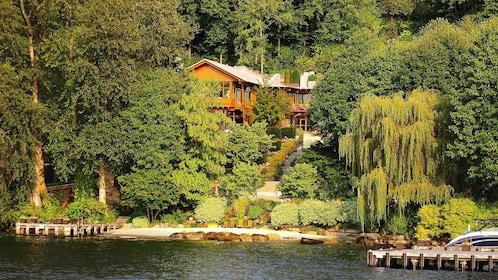 Bill Gates's nestled in the lush trees and gardens along Lake Washington in Seattle