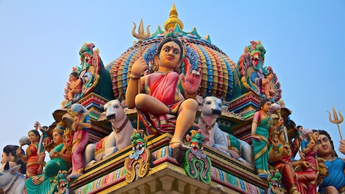 Colorful sculptures on the Sri Mariamman Temple in Singapore