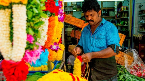 Flower vendor at a market in Singapore