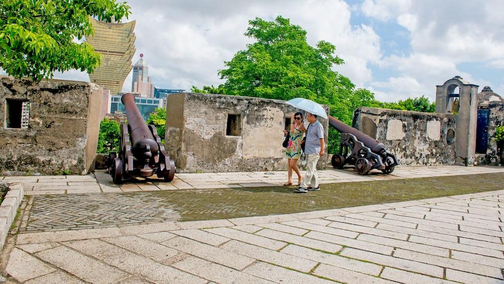 couple taking a leisurely stroll in Macau
