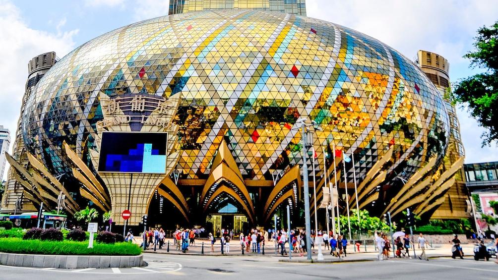 outside of the Grand Lisboa building in Macau