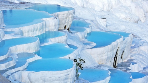 the rich thermal mineral waters at Pamukkale