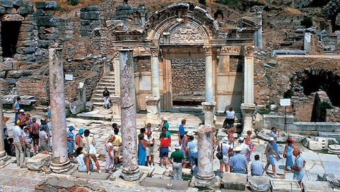 Tourists in the ruins of Ephesus