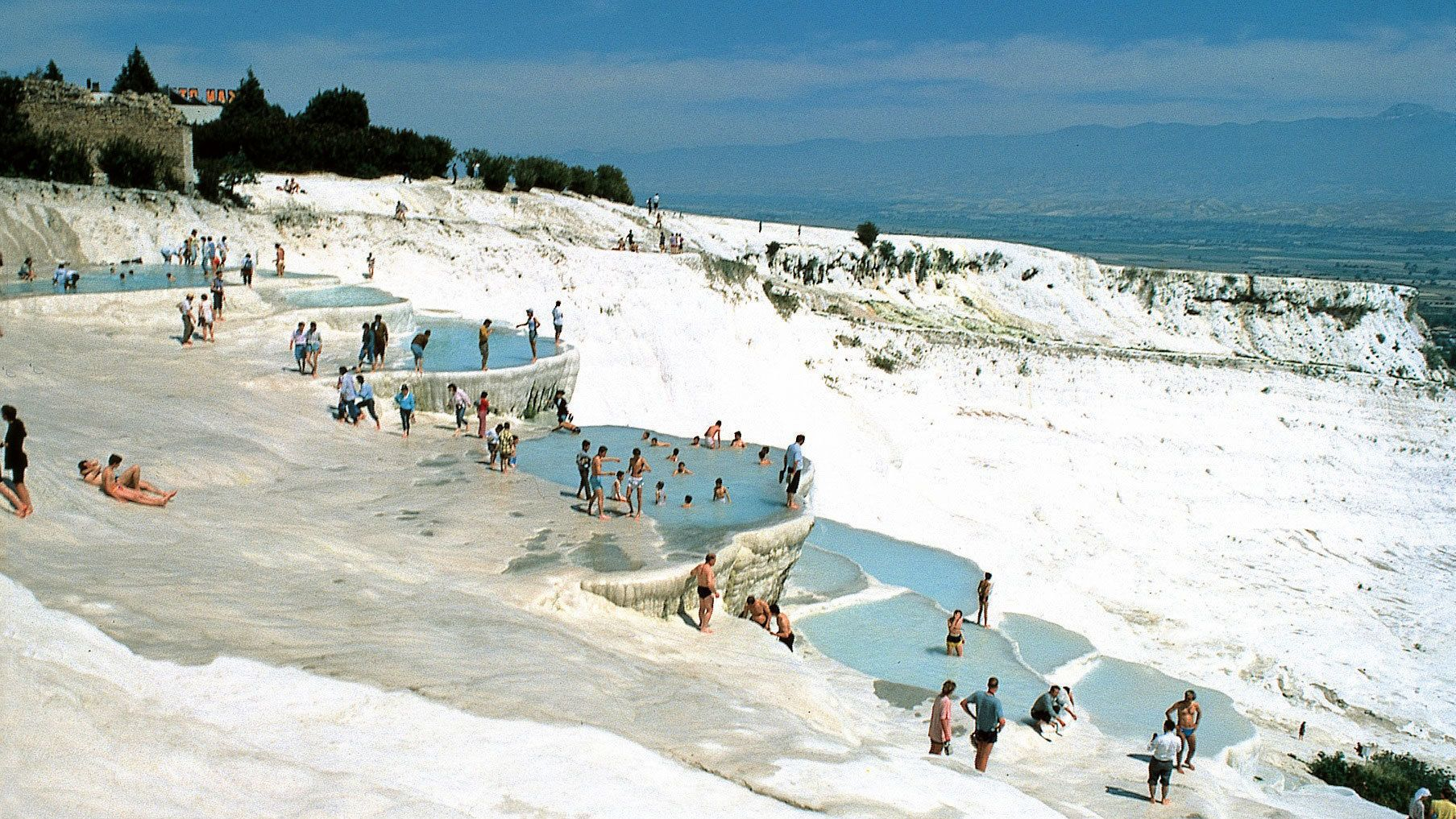People relaxing in the hot springs of Pamukkale