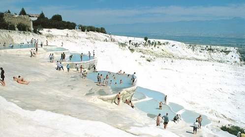 Tourists at Pamukkale in Turkey