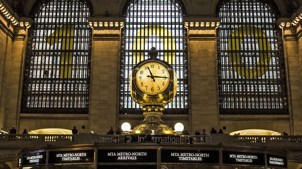 clock inside train station