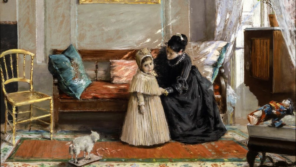 Close up of painting by William Merritt Chase.