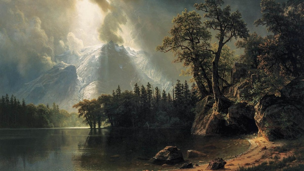 Close up of painting, Passing Storm Over The Sierra Nevada by Albert Bierstadt.