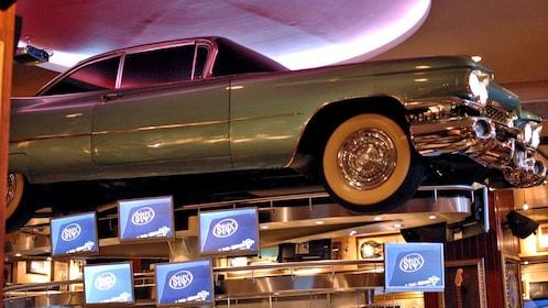 a retro car inside a building in Barcelona