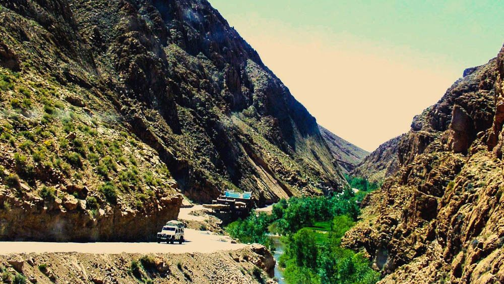 Landscape view of driving path in Atlas Mountains.