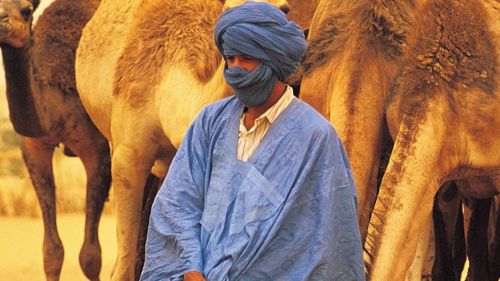 Close up of local Berber man in traditional clothing.