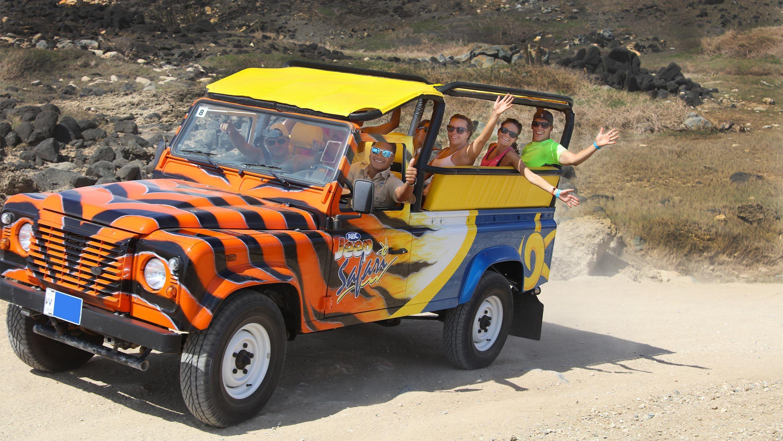 Group on a jeep on the Island Ultimate Safari in Aruba