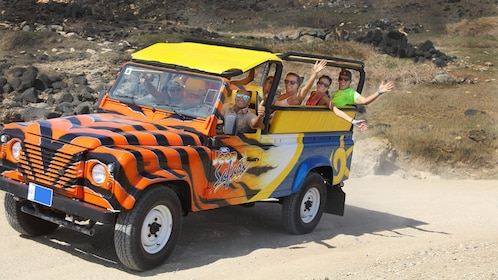 Group on a jeep on the Island Ultimate Safari in Aruba