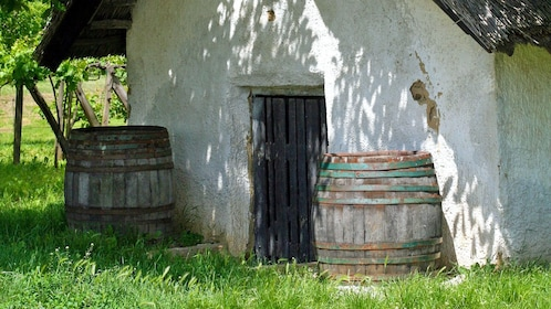 barrels outside an old shed in Budapest