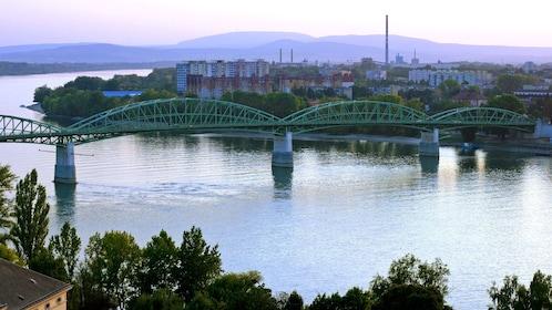bridge spanning across the river in Budapest