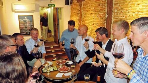 large group tasting wine in Madrid
