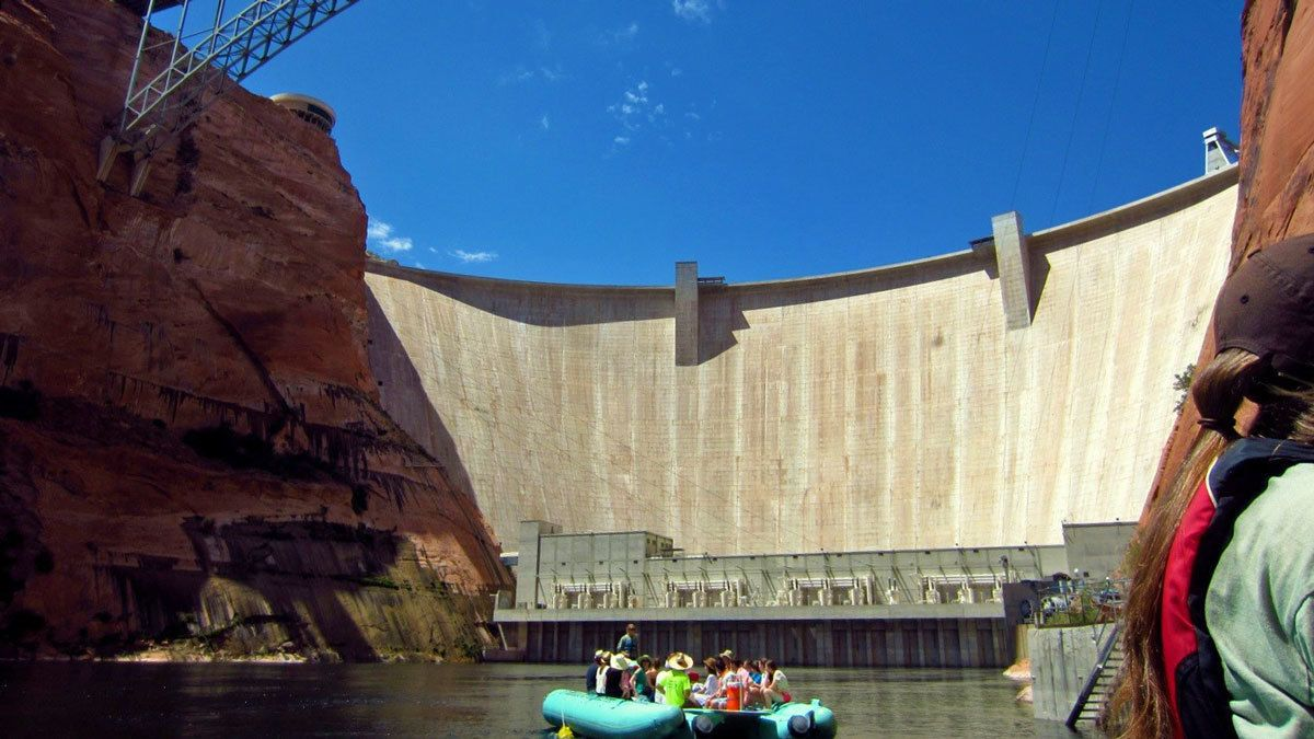 inflatable raft near a dam in Colorado