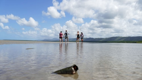 Shell in the foreground of spear fishers in low tide