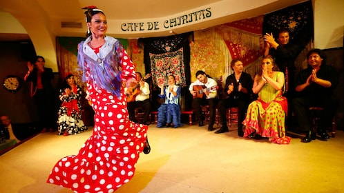 woman in polka dotted dress dancing the flamenco in Madrid