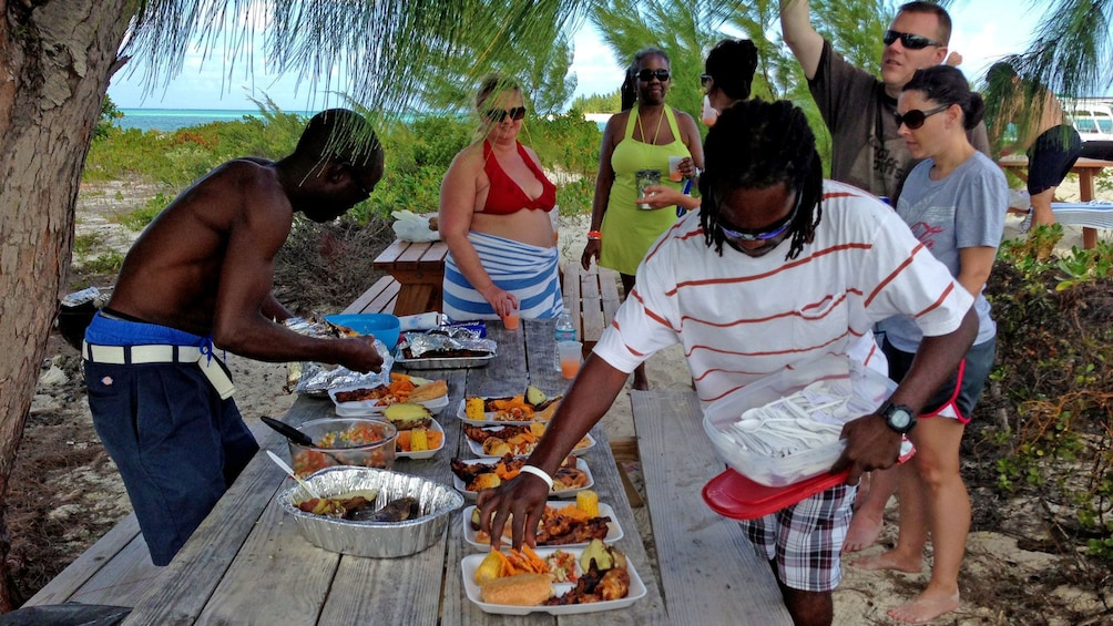 Show item 5 of 5. having barbecue for lunch at Turks and Caicos