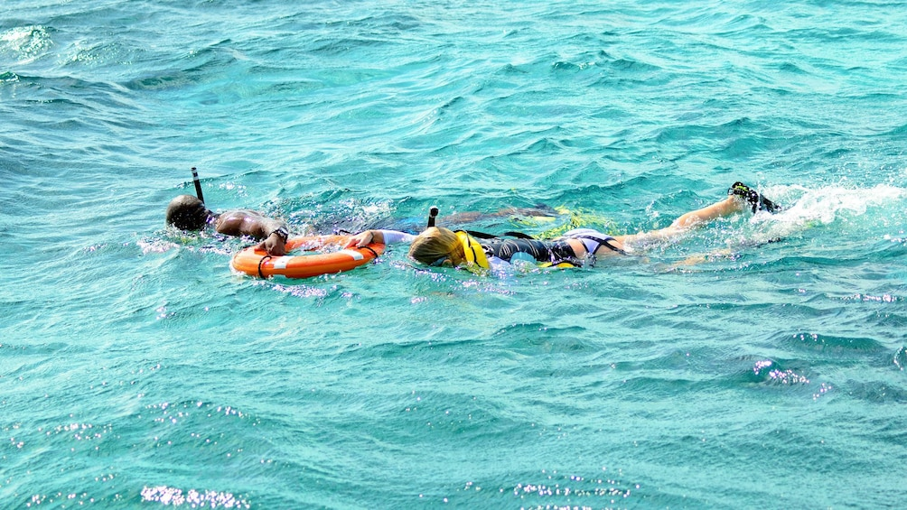 Show item 2 of 5. snorkelers in shallow waters in Turks and Caicos