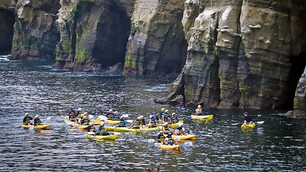 Show item 5 of 5. a cluster of kayakers near rocky cliffs in San Diego