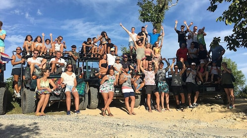 Koh Samui Jeep Tour(Waterfall, Water slides, Zipline, Lunch)