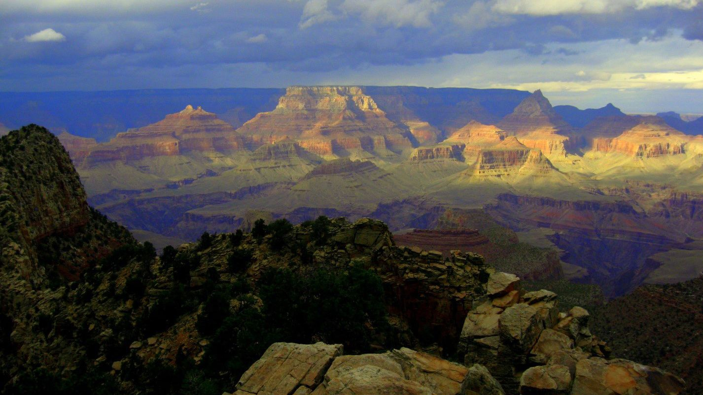 A greenish hue over the Grand Canyon