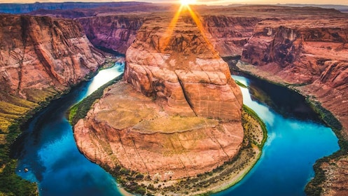 Aerial shot of Horseshoe Bend.