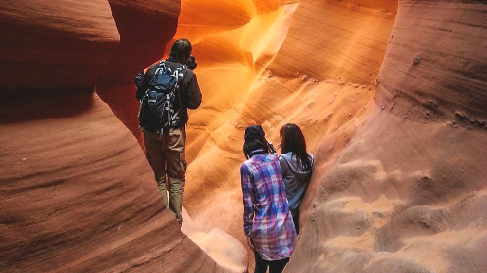 Tourists inside Canyon observing.