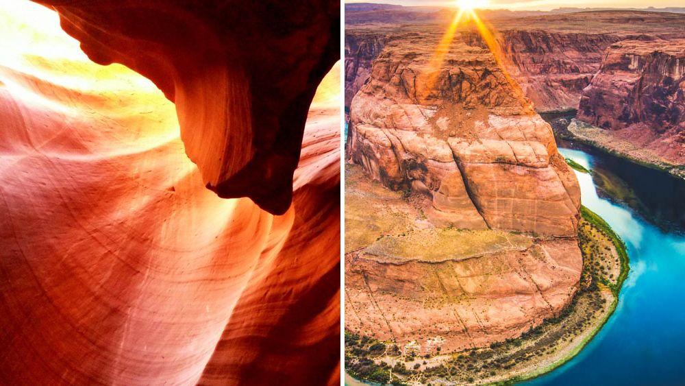 Split image of Antelope Canyon and Horseshoe Bend.