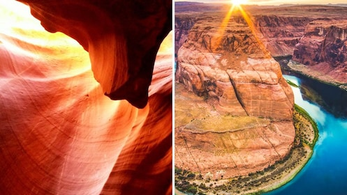 Split image of Antelope Canyon and Horseshoe Bend.