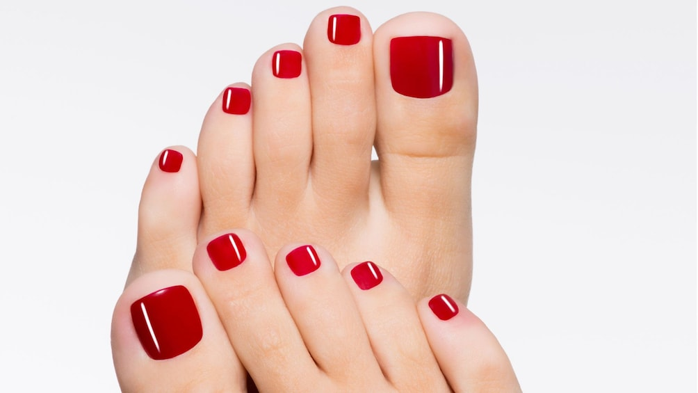 painted toenails at the spa in Seattle
