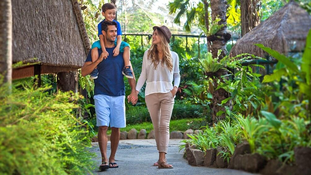 family walking through the zoo in Bali